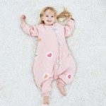 Children's leg-split sleeping bag autumn and winter thickened anti-kick quilt cotton nursery baby sleeping bag