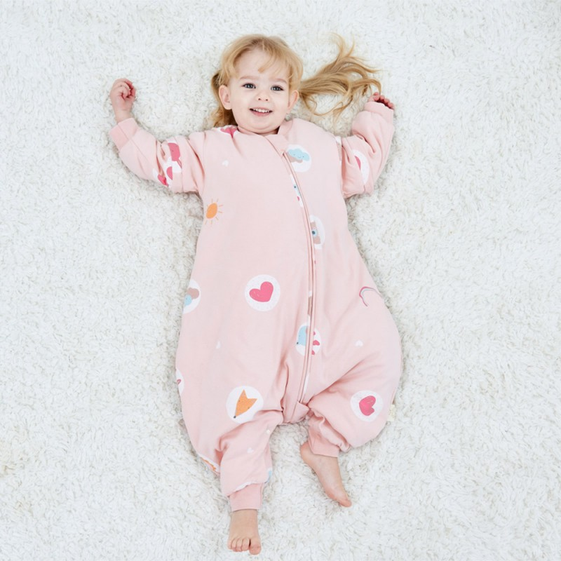 Children's leg-split sleeping bag autumn and winte...