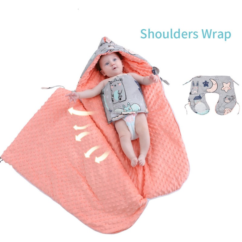 Baby cotton anti-shock autumn and winter thickening dual-use newborn baby peas blanket sleeping bag